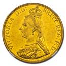 1887 Great Britain Gold 5 Pounds AU-58 PL NGC