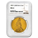 1887 Great Britain Gold 5 Pounds MS-61 NGC