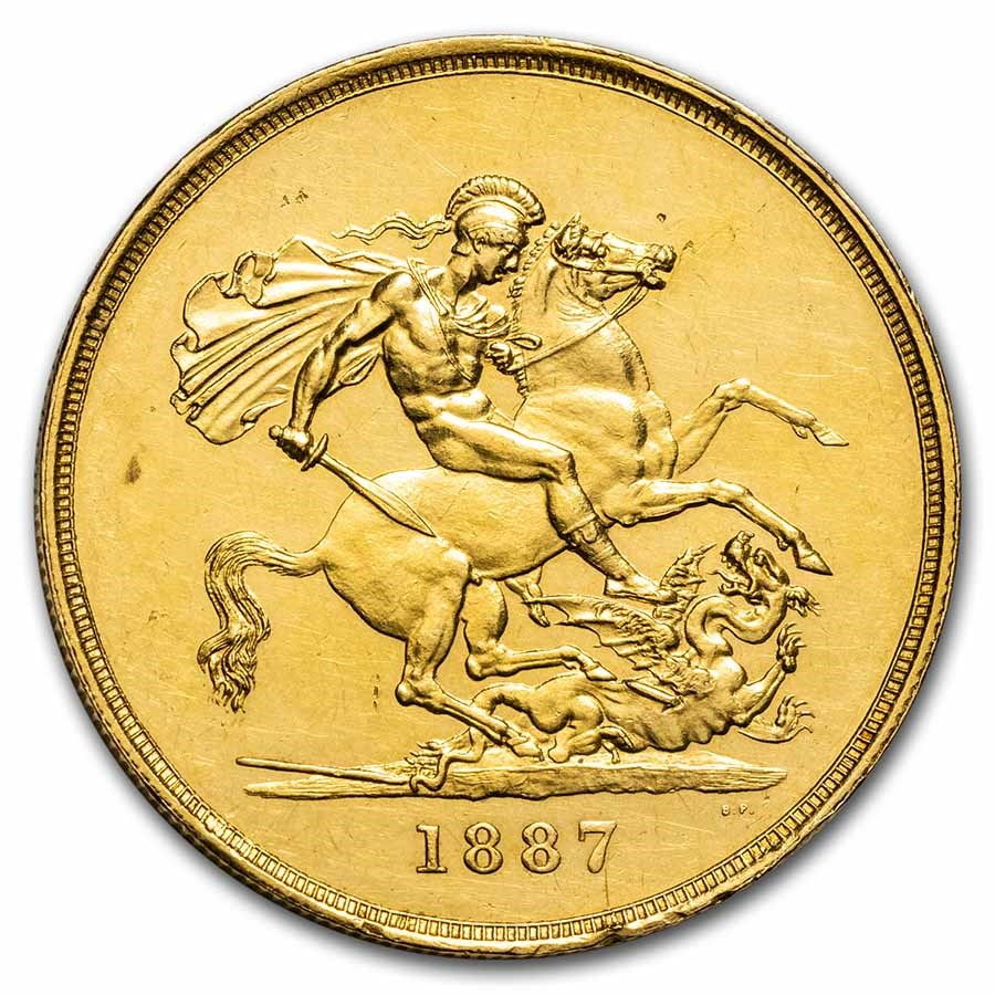 1887 Great Britain Gold 5 Sovereign AU