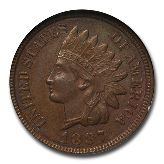 1887 Indian Head Cent MS-63 NGC (Brown)