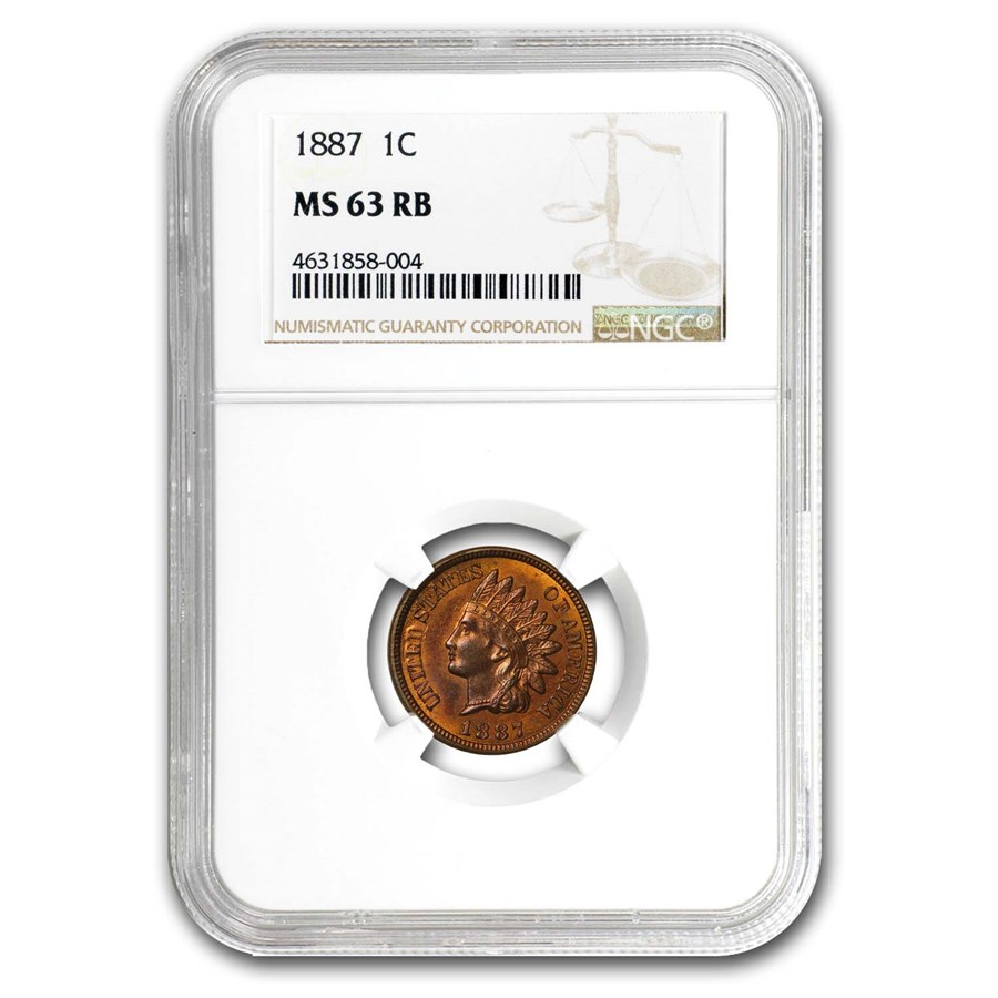 1887 Indian Head Cent MS-63 NGC (Red/Brown)