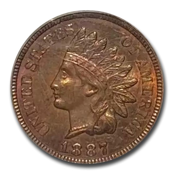 1887 Indian Head Cent MS-64 PCGS (Red/Brown)