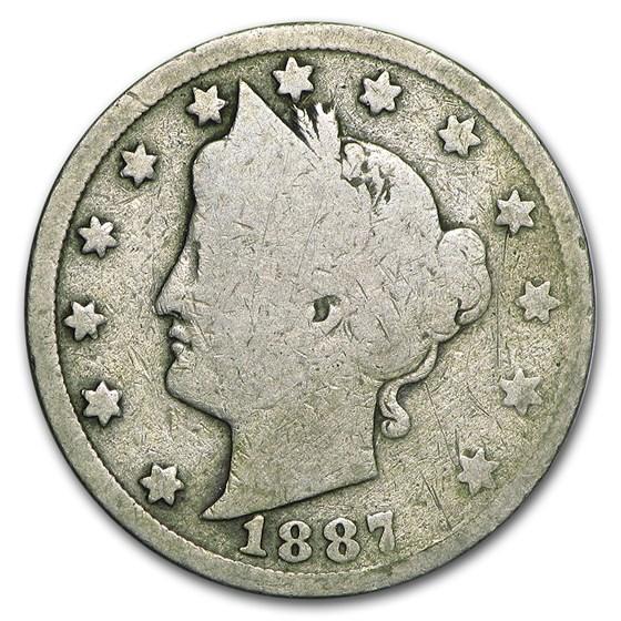 1887 Liberty Head V Nickel AG