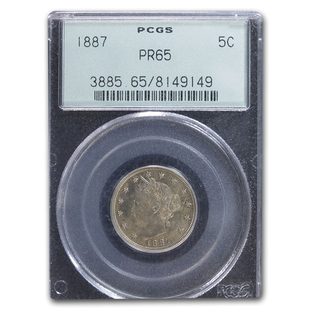 1887 Liberty Head V Nickel PR-65 PCGS