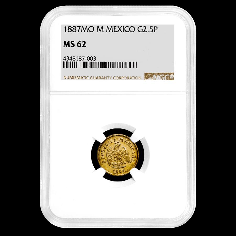 1887 Mo-M Mexico Gold 2 1/2 Pesos MS-62 NGC