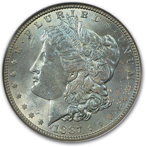 1887 Morgan Dollar MS-62 NGC (Peacock Blue Obverse)