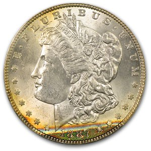 1887 Morgan Dollar MS-63 PCGS (Cool Album Toning)