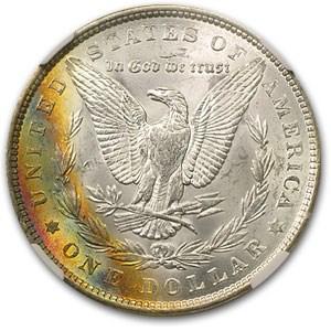 1887 Morgan Dollar MS-64 NGC Rainbow (Crescent Rev Toning)