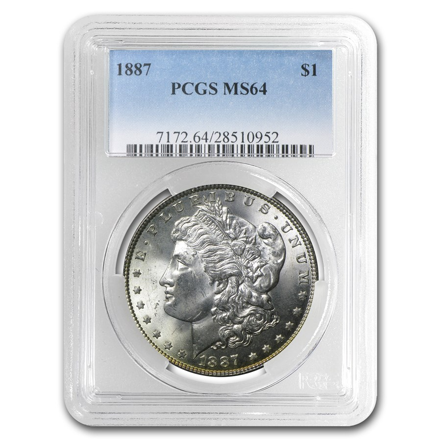 1887 Morgan Dollar MS-64 PCGS (Awesome Rev Toning)