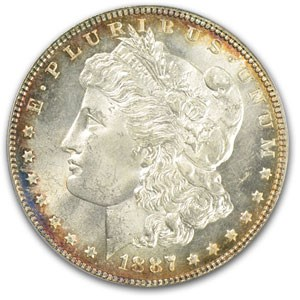 1887 Morgan Dollar MS-64 PCGS (Decorative Toned Rims)