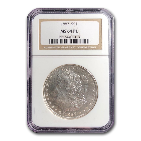 1887 Morgan Dollar MS-64 PL NGC