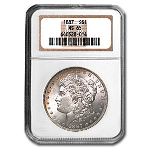1887 Morgan Dollar MS-65 NGC (Partial Rim Toning Obv & Rev)