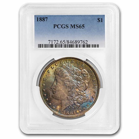 1887 Morgan Dollar MS-65 PCGS (Beautiful Colorful Obv)