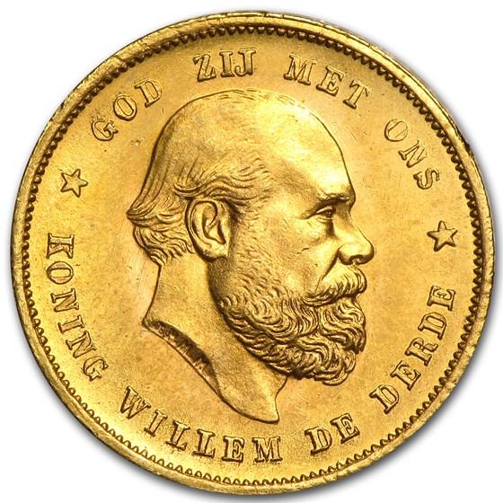 1887 Netherlands Gold 10 Guilder BU