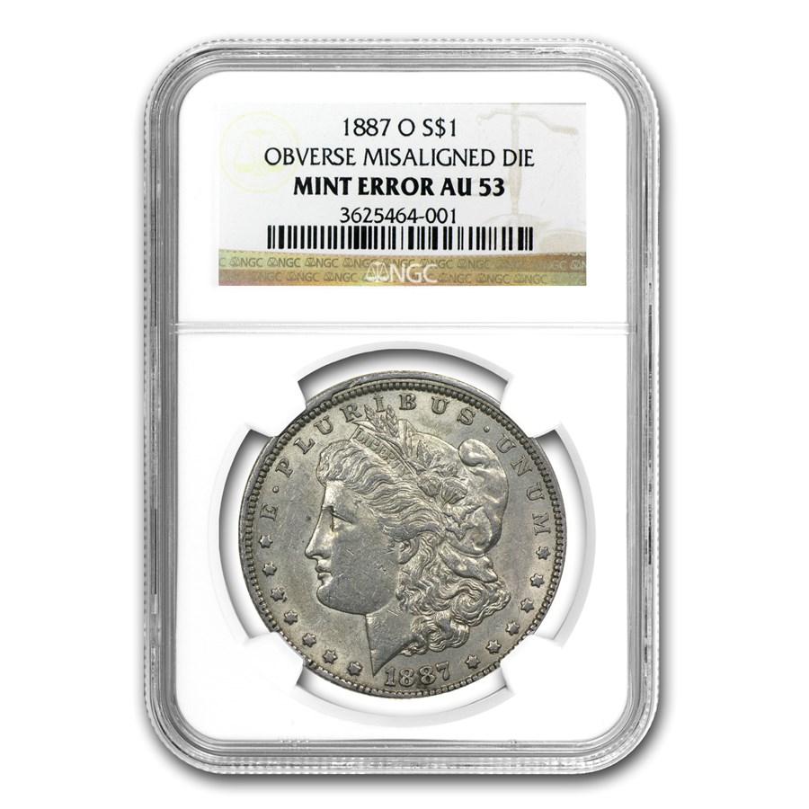 1887-O Morgan Dollar AU 53 NGC (Obv Misaligned Die Error)