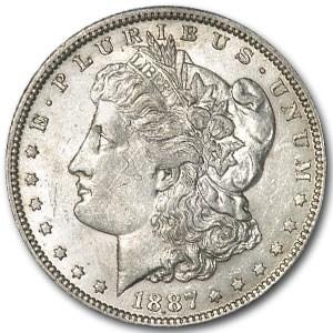 1887-O Morgan Dollar AU-55 (Struck Thru Thread Mint Error)