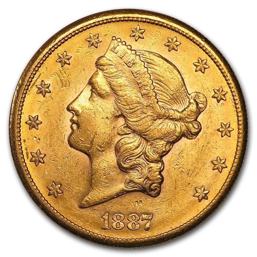 1887-S $20 Liberty Gold Double Eagle AU