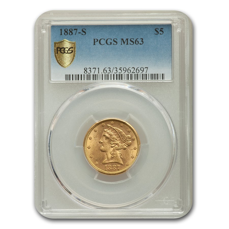 1887-S $5 Liberty Gold Half Eagle MS-63 PCGS
