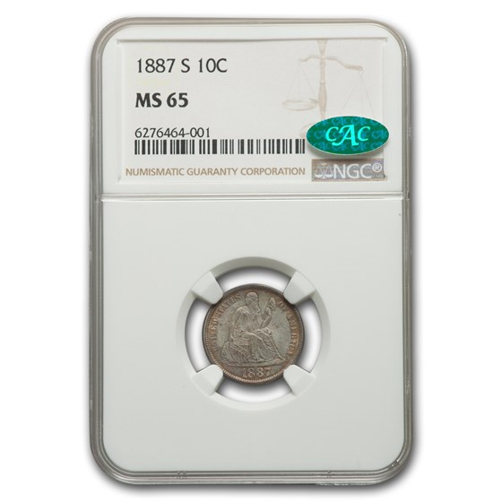 1887-S Liberty Seated Dime MS-65 NGC CAC