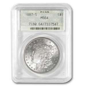 1887-S Morgan Dollar MS-64 PCGS (Old Doily Holder)