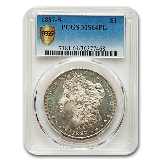 1887-S Morgan Dollar PL MS-64 PCGS