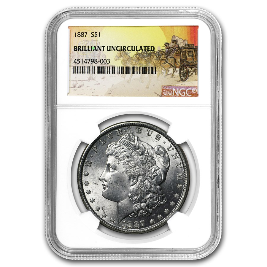 1887 Stage Coach Morgan Dollar BU NGC