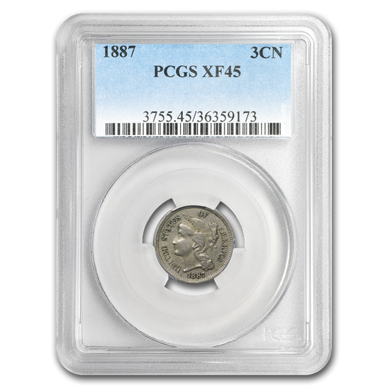 1887 Three Cent Nickel XF-45 PCGS