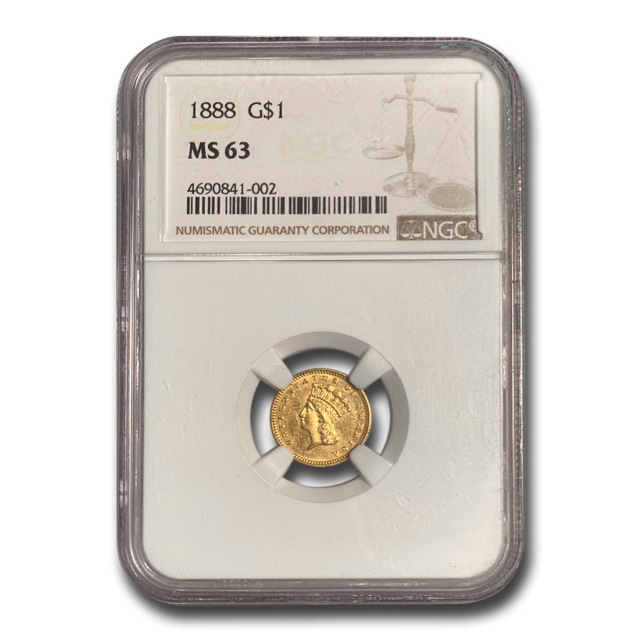 1888 $1.00 Indian Head Gold MS-63 NGC