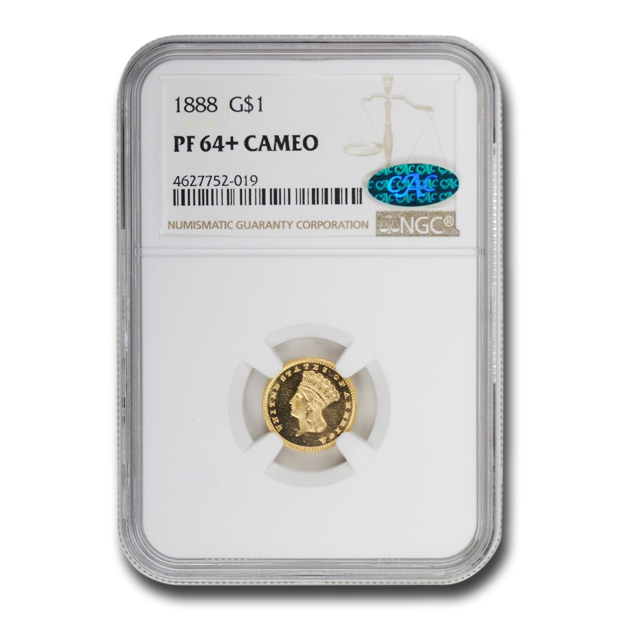 1888 $1 Indian Head Gold PF-64+ Cameo NGC