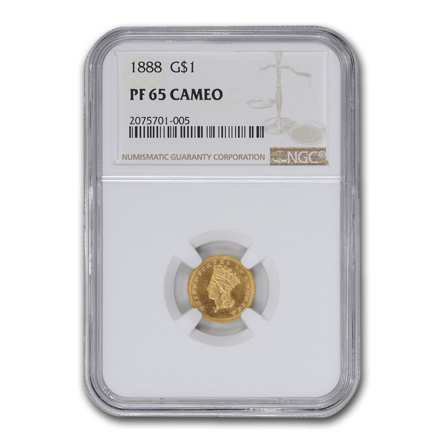 1888 $1 Indian Head Gold PF-65 Cameo NGC