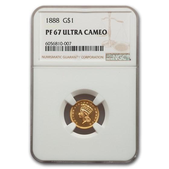 1888 $1 Indian Head Gold PF-67 UCAM NGC