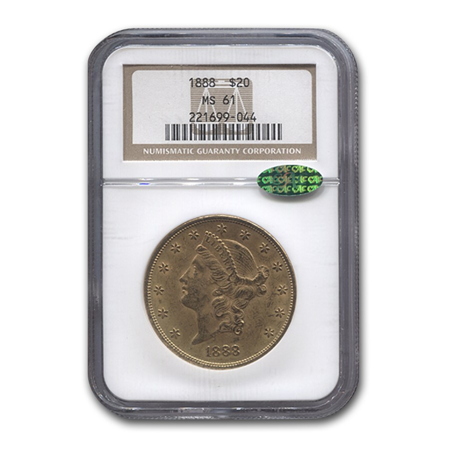 1888 $20 Liberty Gold Double Eagle MS-61 NGC CAC