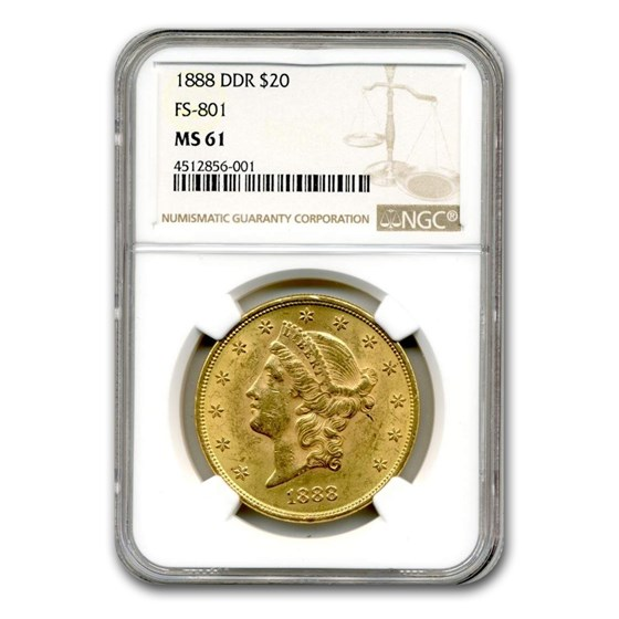 1888 $20 Liberty Gold Double Eagle MS-61 NGC (DDR, FS-801)