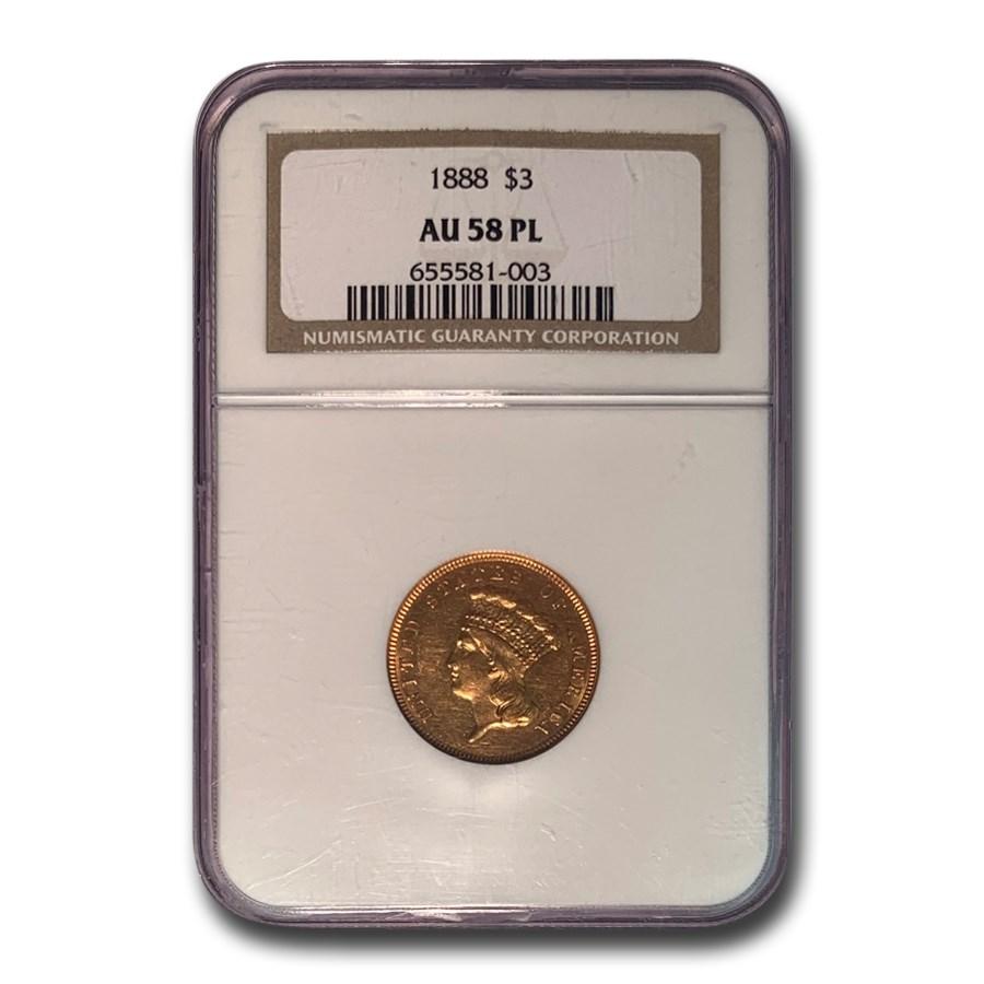 1888 $3 Gold Princess AU-58 NGC (PL)