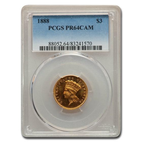 1888 $3 Gold Princess PR-64 Cameo PCGS