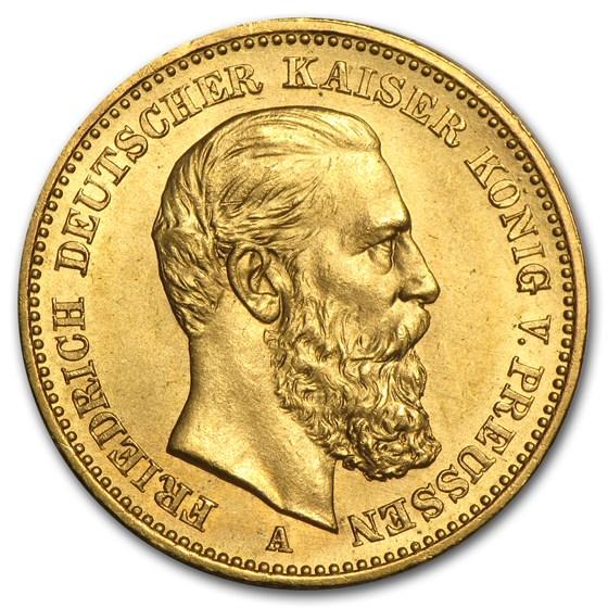 1888 Germany Gold 20 Mark Prussia Friedrich III Avg Circ