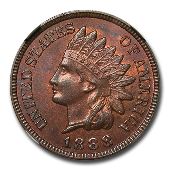 1888 Indian Head Cent MS-63 NGC (Red/Brown)