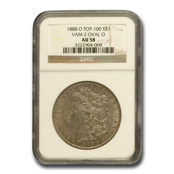 1888-O Morgan Dollar AU-58 NGC (VAM-2, Oval O, Top-100)