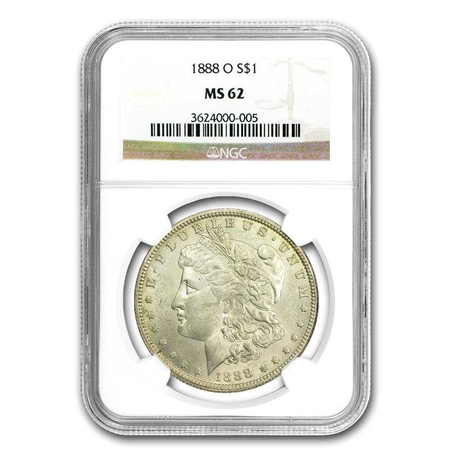 1888-O Morgan Dollar MS-62 NGC (VAM-1B, Early Scarface Die State)