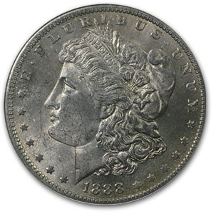 1888-O Morgan Dollar MS-63 NGC (Black Bag Obv Toning)