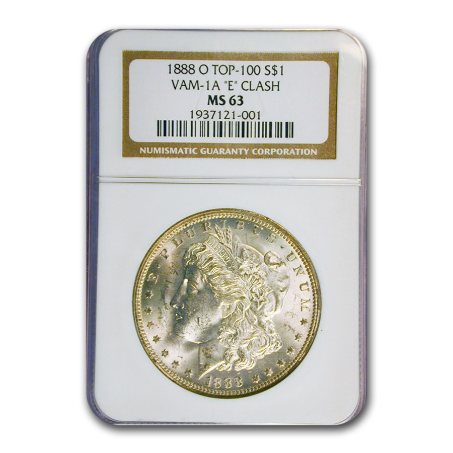 1888-O Morgan Dollar MS-63 NGC (VAM-1 A 'E' Clash, Top-100)