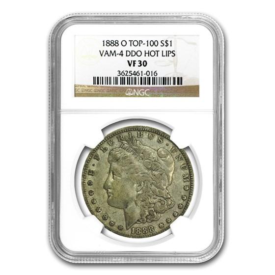 1888-O Morgan Dollar VF-30 NGC (VAM-4, Hot Lips Doubled Die)