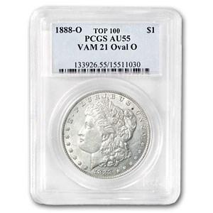 1888-O Morgan Silver Dollar AU-55 PCGS (VAM-21, Oval O)