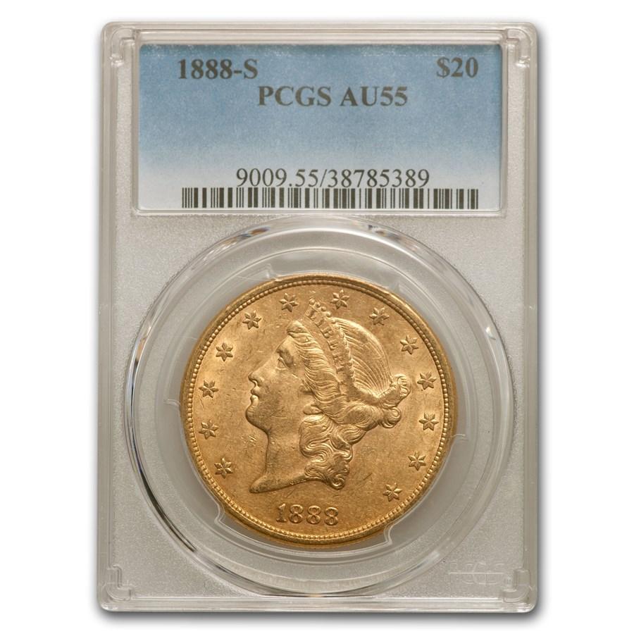 1888-S $20 Liberty Gold Double Eagle AU-55 PCGS