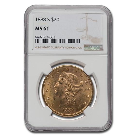 1888-S $20 Liberty Gold Double Eagle MS-61 NGC