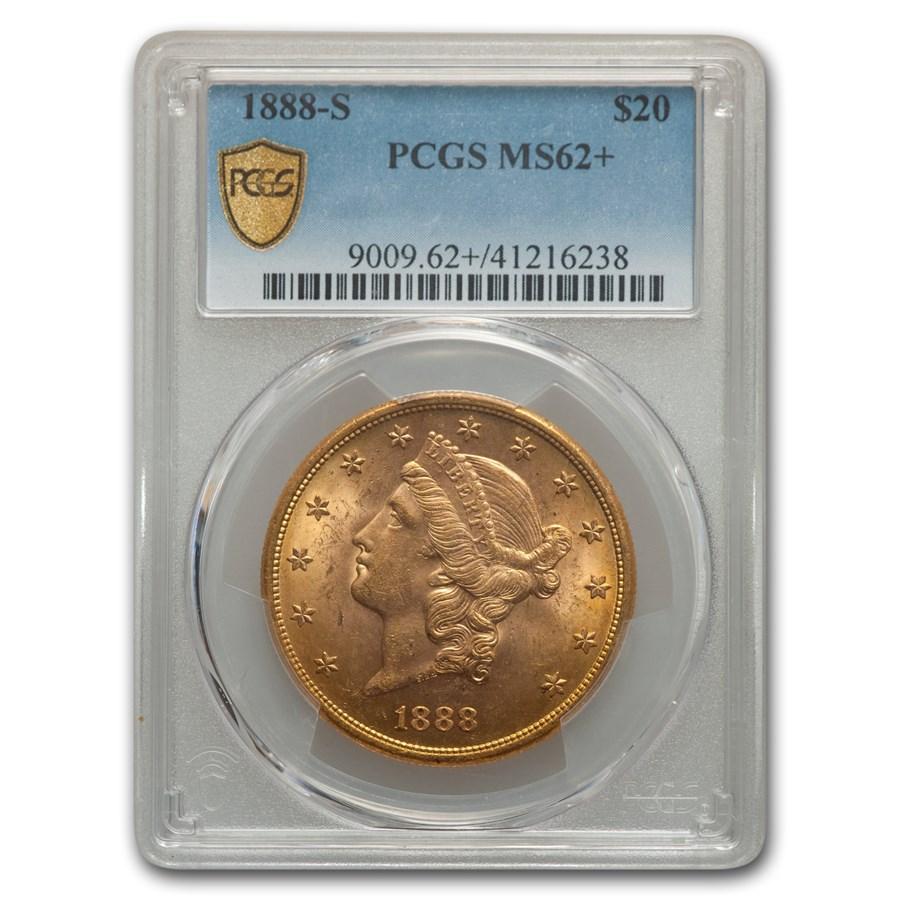 1888-S $20 Liberty Gold Double Eagle MS-62+ PCGS