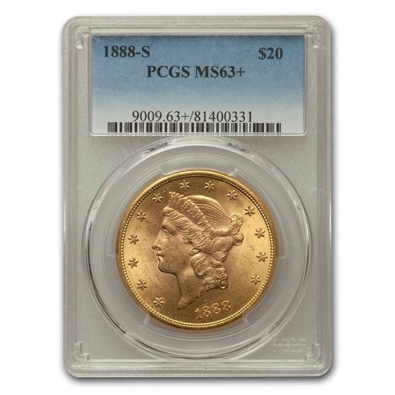 1888-S $20 Liberty Gold Double Eagle MS-63+ PCGS