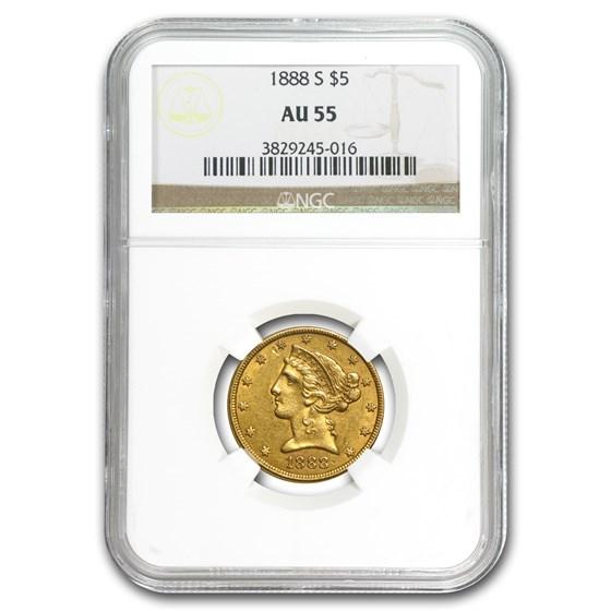 1888-S $5 Liberty Gold Half Eagle AU-55 NGC