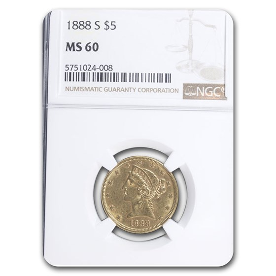 1888-S $5 Liberty Gold Half Eagle MS-60 NGC