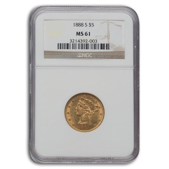 1888-S $5 Liberty Gold Half Eagle MS-61 NGC